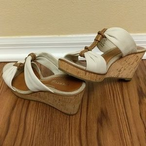 Sperry Top-Sider tan leather cork wedges